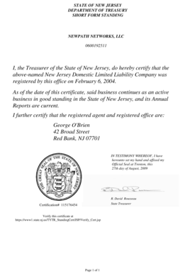 Fillable Online STATE OF NEW JERSEY DEPARTMENT OF TREASURY SHORT ...
