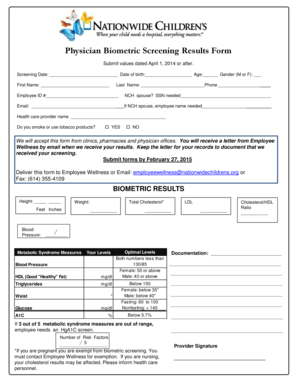 Fillable Online nationwidechildrens Physician Biometric Screening ...