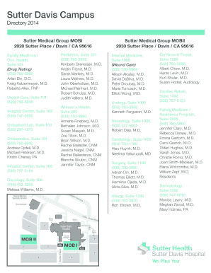 Printable sutter health employee directory - Edit, Fill Out