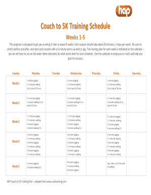 Couch To 5k Training Schedule Fill Online Printable Fillable