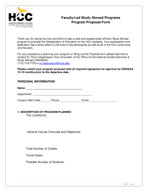 Faculty Led Study Abroad Programs Program Proposal Form