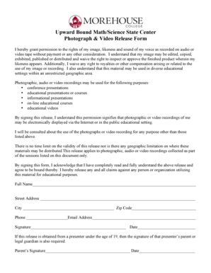 Photograph amp Video Release Form - morehouseedu