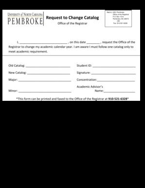 Unc Academic Calendar.Fillable Online Uncp Mail To Unc Pembroke Request To Change Catalog