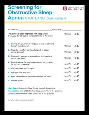 Sleep QuestionnaireScreening Test – Sleep Diagnostics Centre |Sleep Apnea Questionnaire Screening
