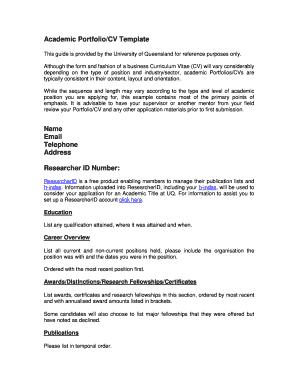 Academic Portfolio Cv Template Fill Online Printable Fillable