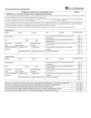 fillable personal financial statement