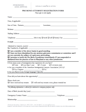 PRO BONO ATTORNEY REGISTRATION FORM