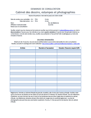 Photography Consultation Form Template Demande De Ca Inet Des Dessins Estampes Et
