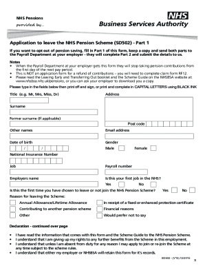 Nhs Pension Opt Out >> Fillable Online Nhs Pensions Application To Leave The Nhs