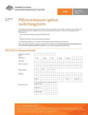 Pss cash investment option