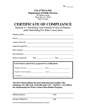 Certificate of compliance morro bay california fill for Certificate of compliance form template