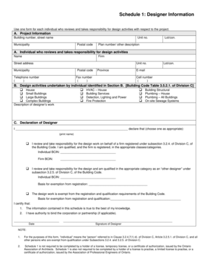 fillable online schedule 1 designer information waterlooca fax