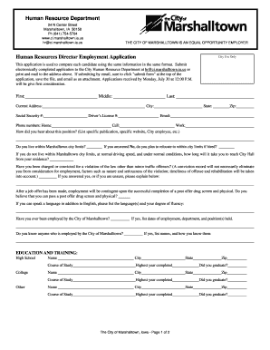 Human Resources Director Employment Application