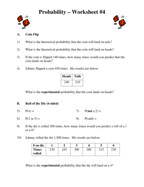 Experimental probability worksheet ks3