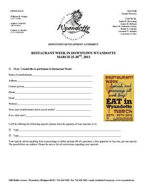 Restaurant purchase agreement fillable printable resume samples 2013 restaurant week information and form platinumwayz
