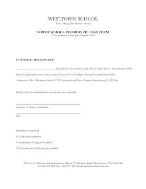 Fillable Online westtown LOWER SCHOOL RECORDS RELEASE FORM ...