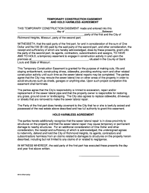 Temporary Construction Easement And Hold Harmless Agreement