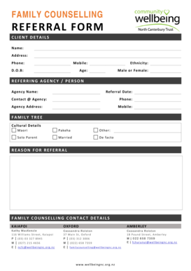 Fillable Online wellbeingnc org FAMILY COUNSELLING REFERRAL FORM ...
