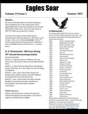 Fillable Online Eagles Soar - North Olmsted City Schools