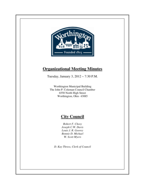 Organizational Meeting Minutes - Worthington