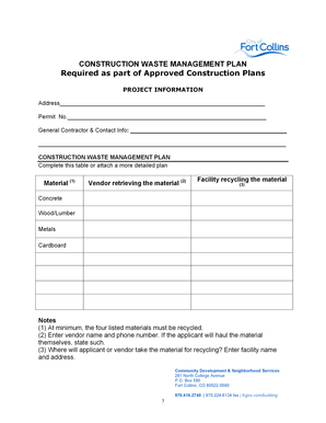 Fillable Online ketchumidaho CONSTRUCTION WASTE MANAGEMENT