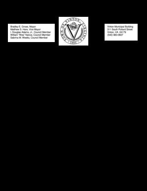 Fillable Online vintonva Bradley E Grose Mayor Vinton Municipal