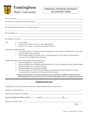 PARENTALSPONSOR AFFIDAVIT OF SUPPORT FORM