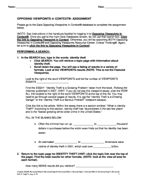 Fillable Opposing Viewpoints Essay Topics  Edit Online Print  Note See Instructions In The Handouts Booklet For Logging In To Opposing  Viewpoints In What Is Thesis Statement In Essay also Reflective Essay Thesis Statement Examples  Essays About High School