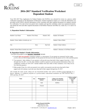 Fillable online rollins v1dep 20162017 standard verification rate this form ibookread Read Online