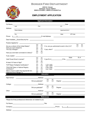 fillable online employment application borger texas fax email