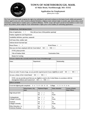 fillable online employment application northborough free library