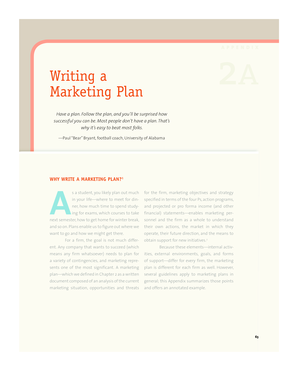 APPENDIX Writing a 2A Marketing Plan - University of North