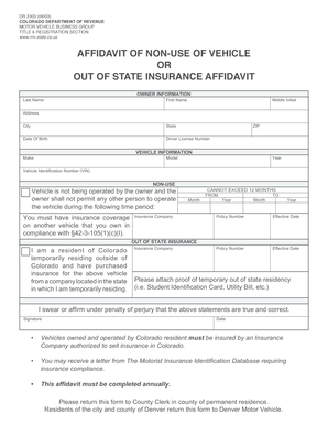 Bill of sale form colorado non use of vehicle or out of for Non ownership of motor vehicle affidavit