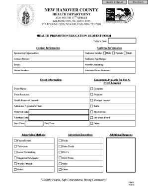 health promotion education request form