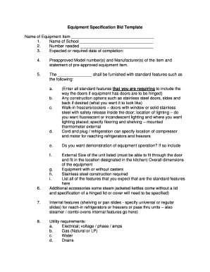 Equipment release form template fill out online for Tender specification template