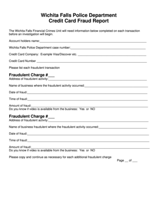 Fillable Online Wichita Falls Police Department Credit Card Fraud Report The Wichita Falls Financial Crimes Unit Will Need Information Below Completed On Each Transaction Fax Email Print Pdffiller