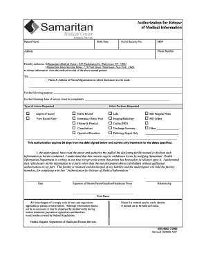 Authorization To Release Medical Information Form Ny. Authorization For  Release   Samaritanhealthcom