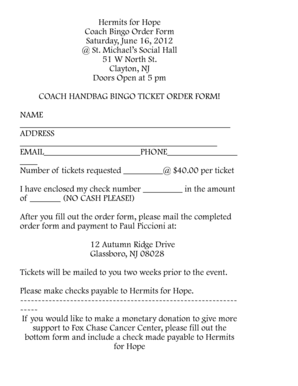 Fillable Online Coach Bingo order form - Fox Chase Cancer Center Fax Email  Print - PDFfiller 878bf438ec