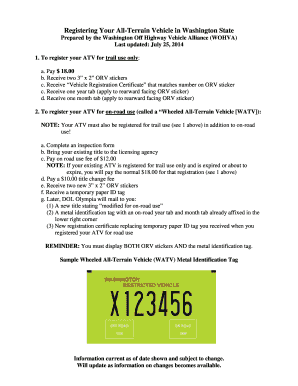 Registering Your All-Terrain Vehicle in Washington State