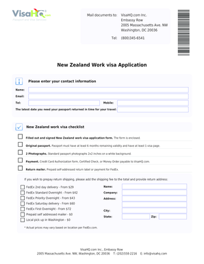 Fillable Online New Zealand Work Visa Application New Zealand Visa Visahq Fax Email Print Pdffiller