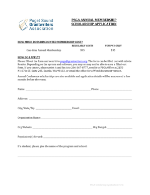 PSGA ANNUAL MEMBERSHIP SCHOLARSHIP APPLICATION -