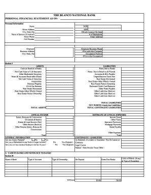 blank financial statement