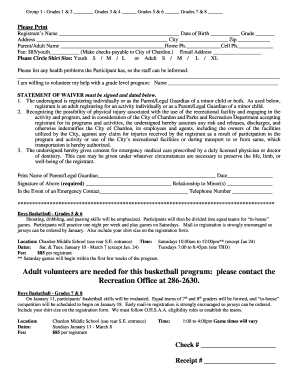 Free basketball registration form template edit fill out basketball program city of chardon www pronofoot35fo Choice Image