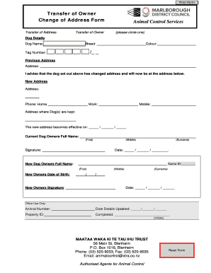 Change Of Address   Marlboroughgovtnz. Change Of Address    Marlboroughgovtnz Print Form ...  Printable Change Of Address Form