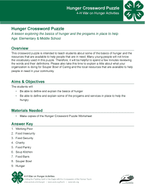 Hunger Crossword Puzzle Fill Online, Printable, Fillable