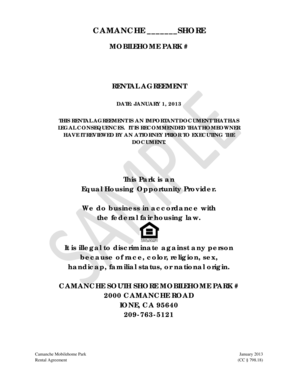 Mobile Home Rental Agreement Forms And Templates