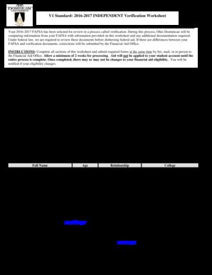 Printables Fafsa Independent Verification Worksheet fillable online v1 standard 20162017 independent verification fill online