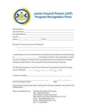 Program Recognition Form - boroughs