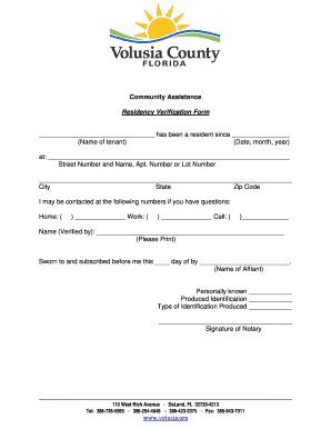 Editable tenant residency verification form - Fill, Print