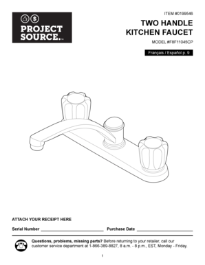 Fillable Online ITEM 0199546 TWO HANDLE KITCHEN FAUCET - Lowes Fax ...
